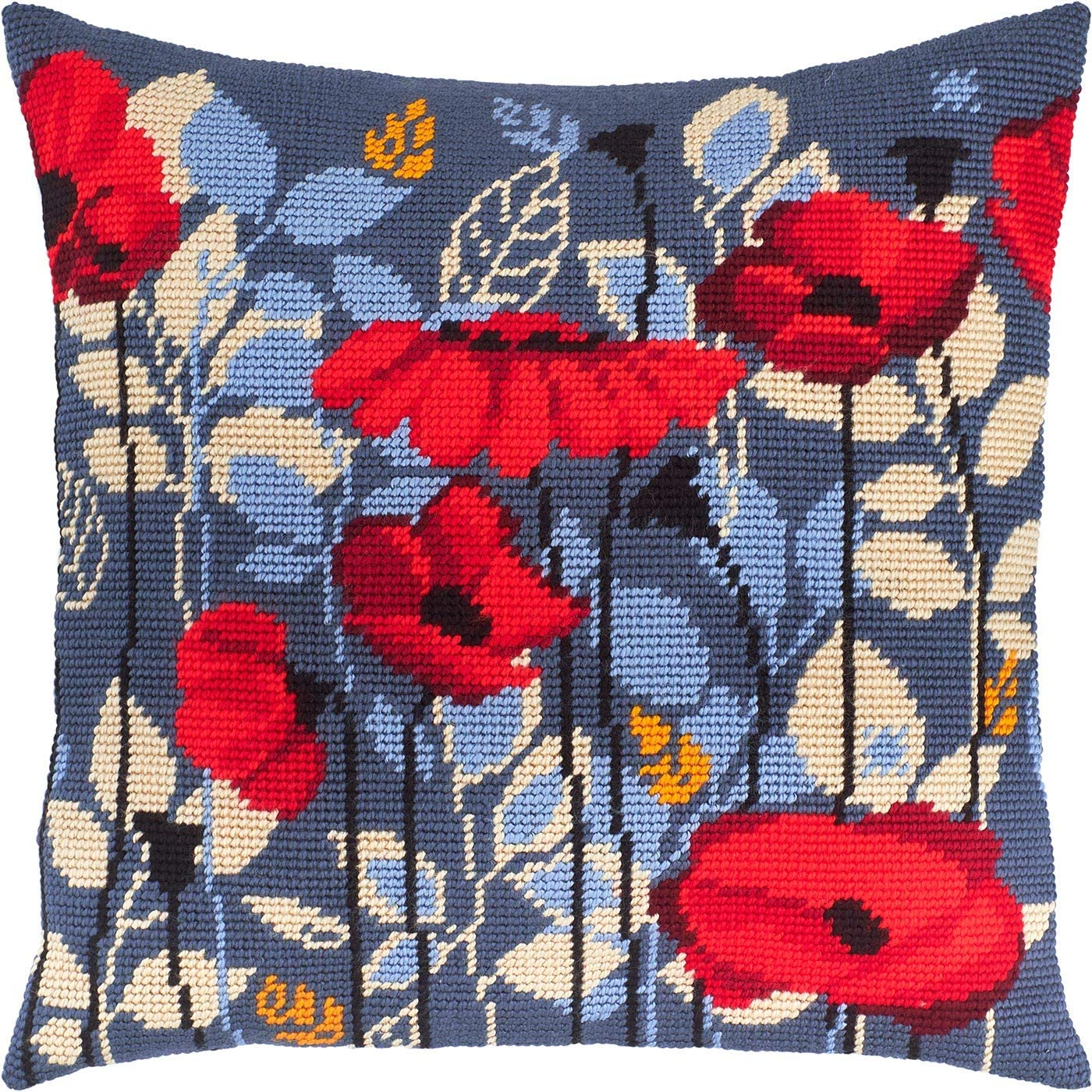 European Quality Throw Pillow 16/×16 Inches Poppies in The Evening Printed Tapestry Canvas Needlepoint Kit