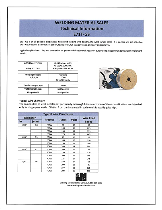 Blue Demon E71TGS .035 X 10# Spool Gasless Flux Core Welding Wire ...