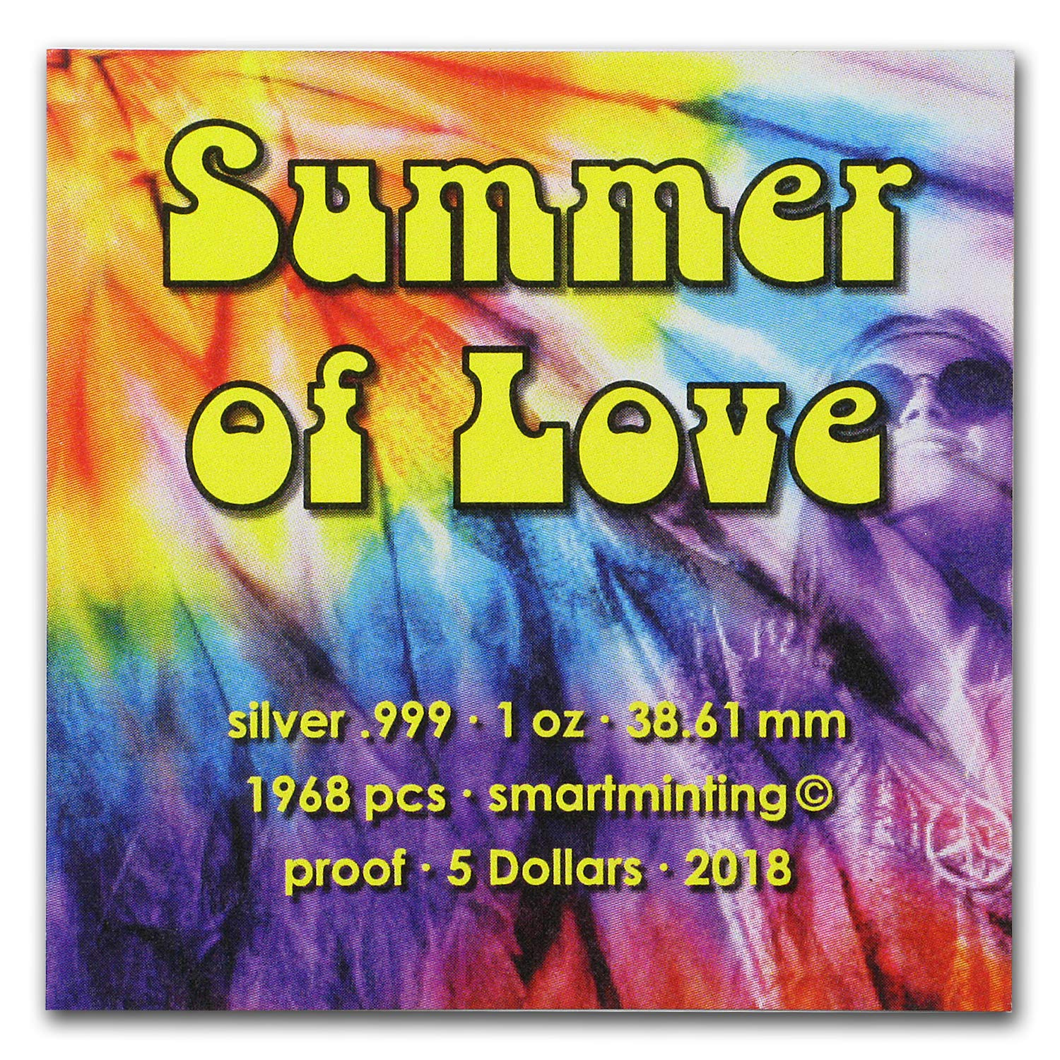 Palau 2018 $5 Summer of Love 1 Oz Proof Silver Coin