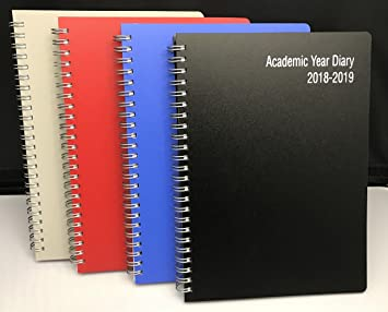 3e92545dc70b Academic diary 2018-2019 A5 one week to view spiral binding   plastic cover  -