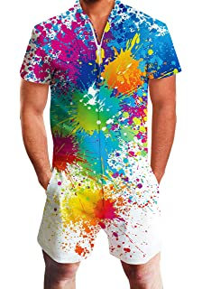 cd244d2525d0 Goodstoworld Mens 2019 New Designed Rompers 3D Fashion Print Short Sleeve  Zip One Piece Summer Jumpsuit
