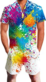 Goodstoworld Mens Fashion Zip Rompers All Print Short Sleeve One Piece