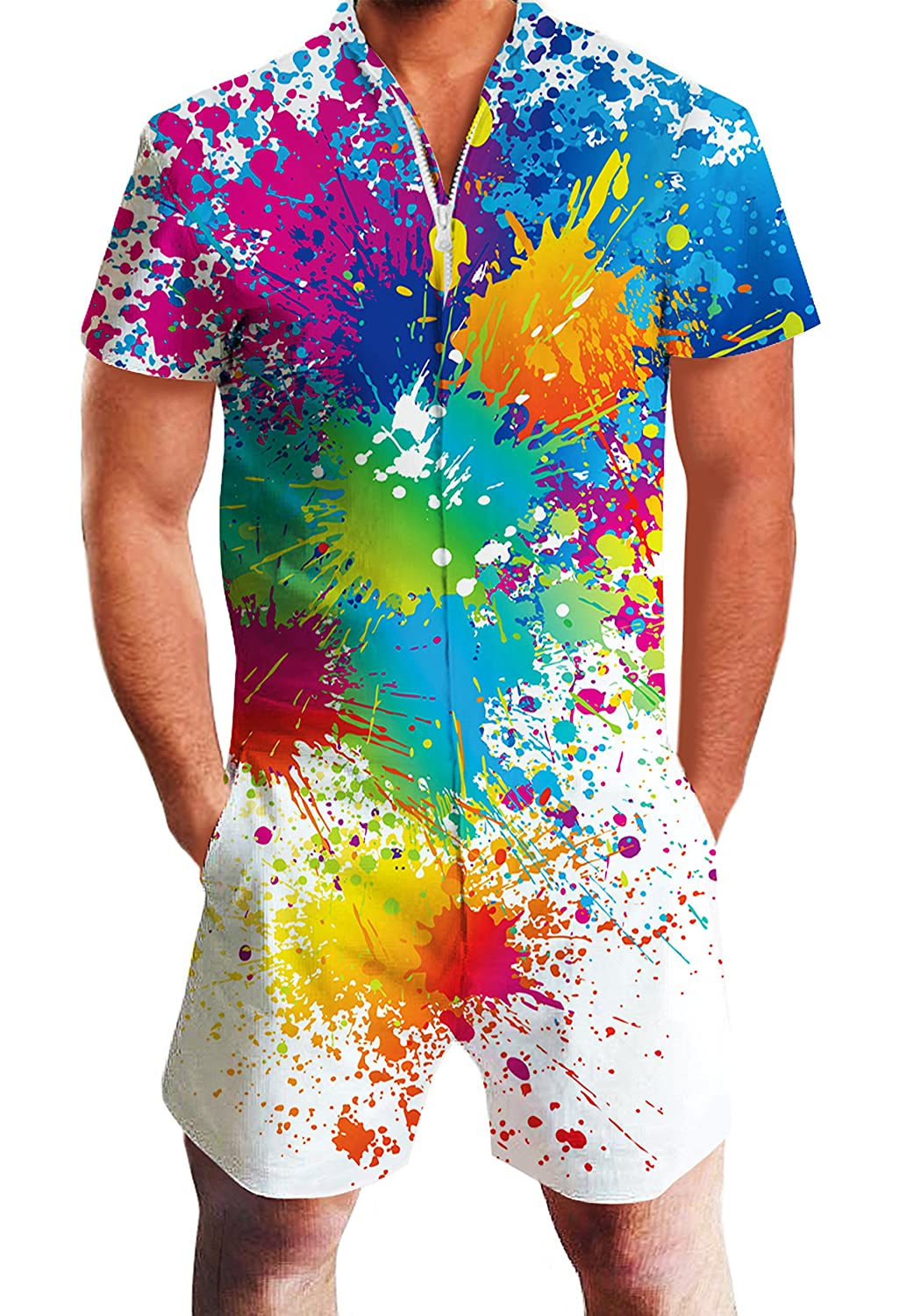 f355755fab6 Amazon.com  Goodstoworld Mens 2019 New Designed Rompers 3D Fashion Print Short  Sleeve Zip One Piece Summer Jumpsuit with Pocket S-XXL  Clothing