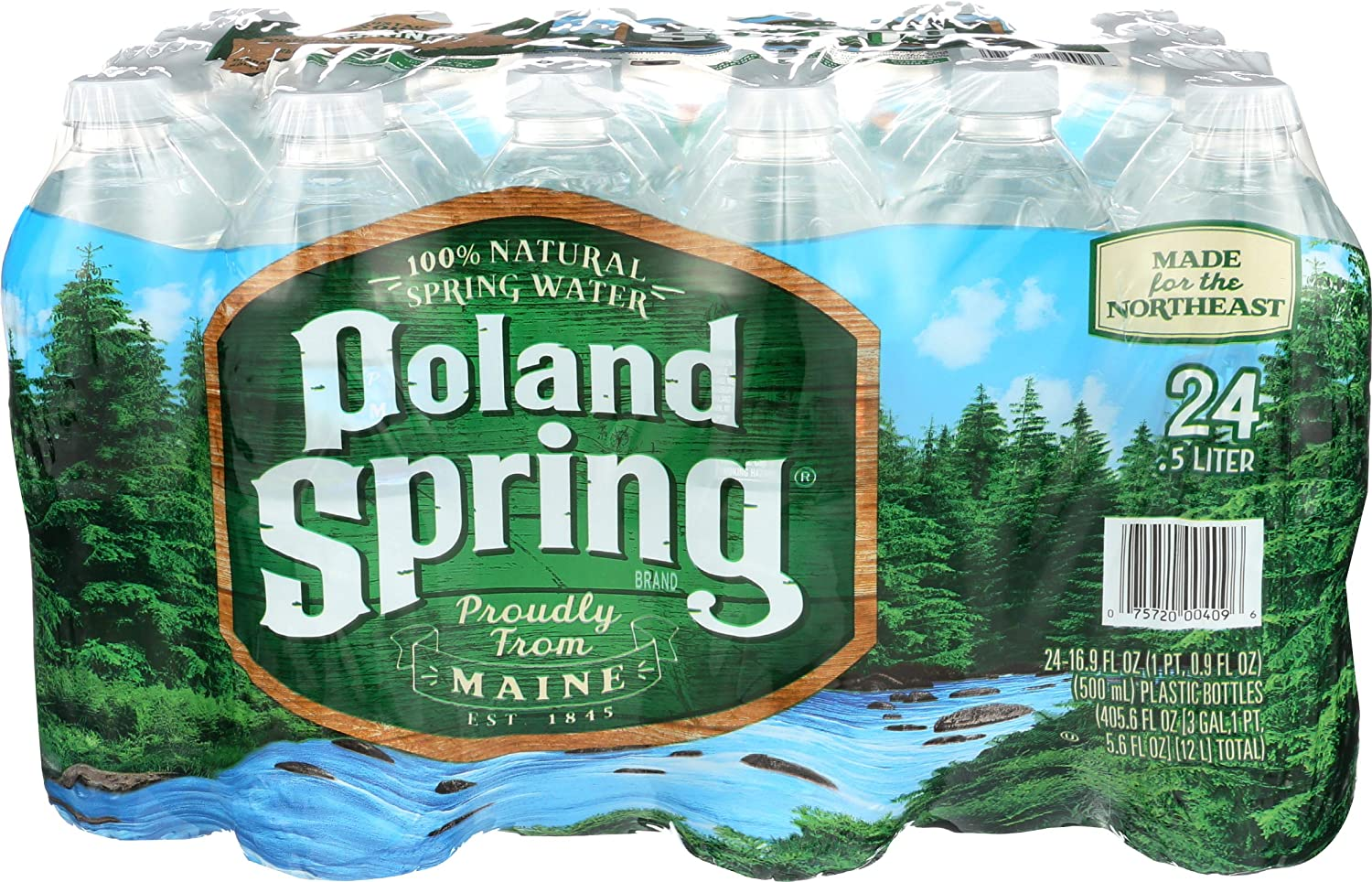 POLAND SPRING (24 Pack) 100% Natural Spring Water, 16.9-ounce plastic bottles