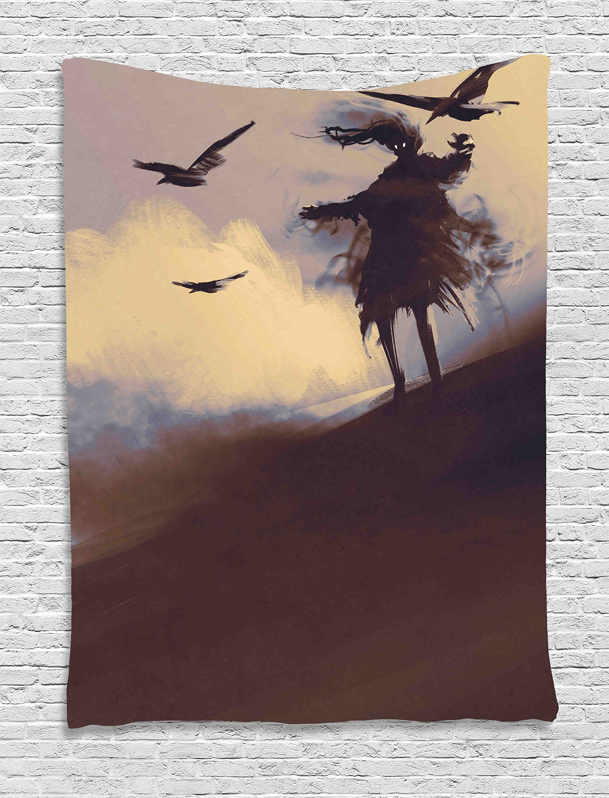 Ambesonne Horror Tapestry, Dark Soul from a Scary Movie on The Hills with Clouds and Flying Crows Print, Wall Hanging for Bedroom Living Room Dorm, 40 W X 60 L inches, Brown Mauve Begie