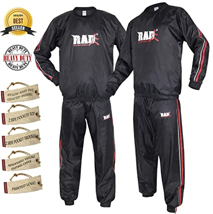 2447c870 RAD Heavy Duty Sweat Suit Sauna Exercise Gym Suit Fitness Weight Loss  Anti-Rip Red
