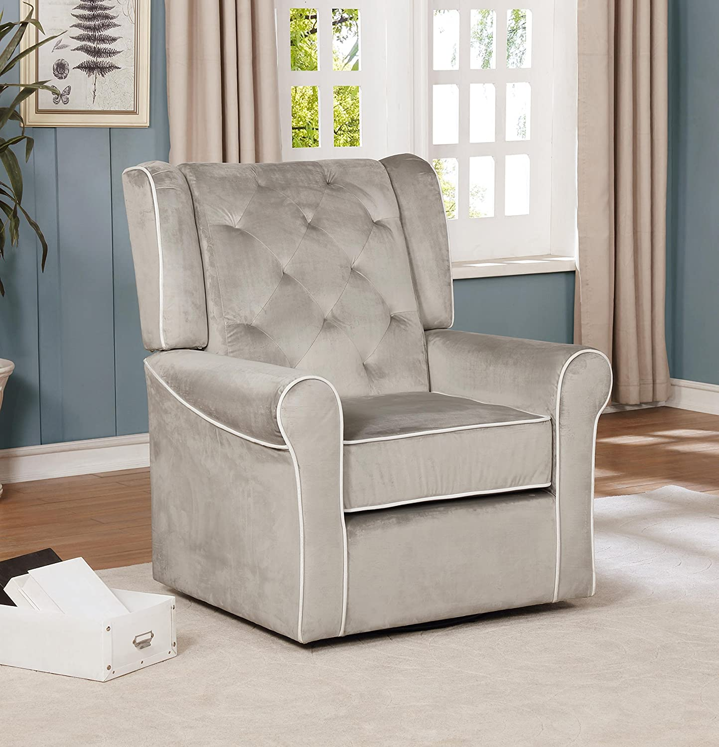 Pleasing Amazon Com Naomi Home Sophia Swivel Chair Gray Microfiber Pdpeps Interior Chair Design Pdpepsorg