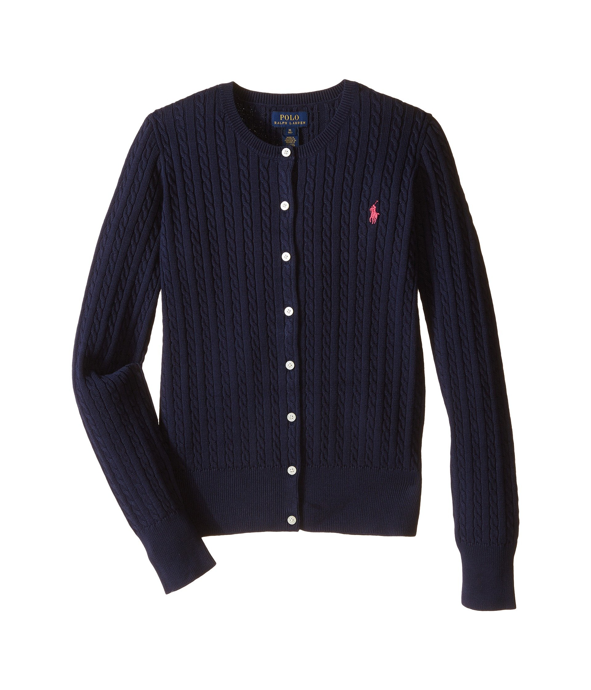 Ralph Lauren Polo Girls Cotton Knit Cable Cardigan Sweater (Small) by RALPH LAUREN (Image #1)
