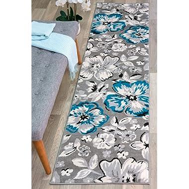 Rugshop Modern Floral Runner Rug, 2' x 7'2 , Blue