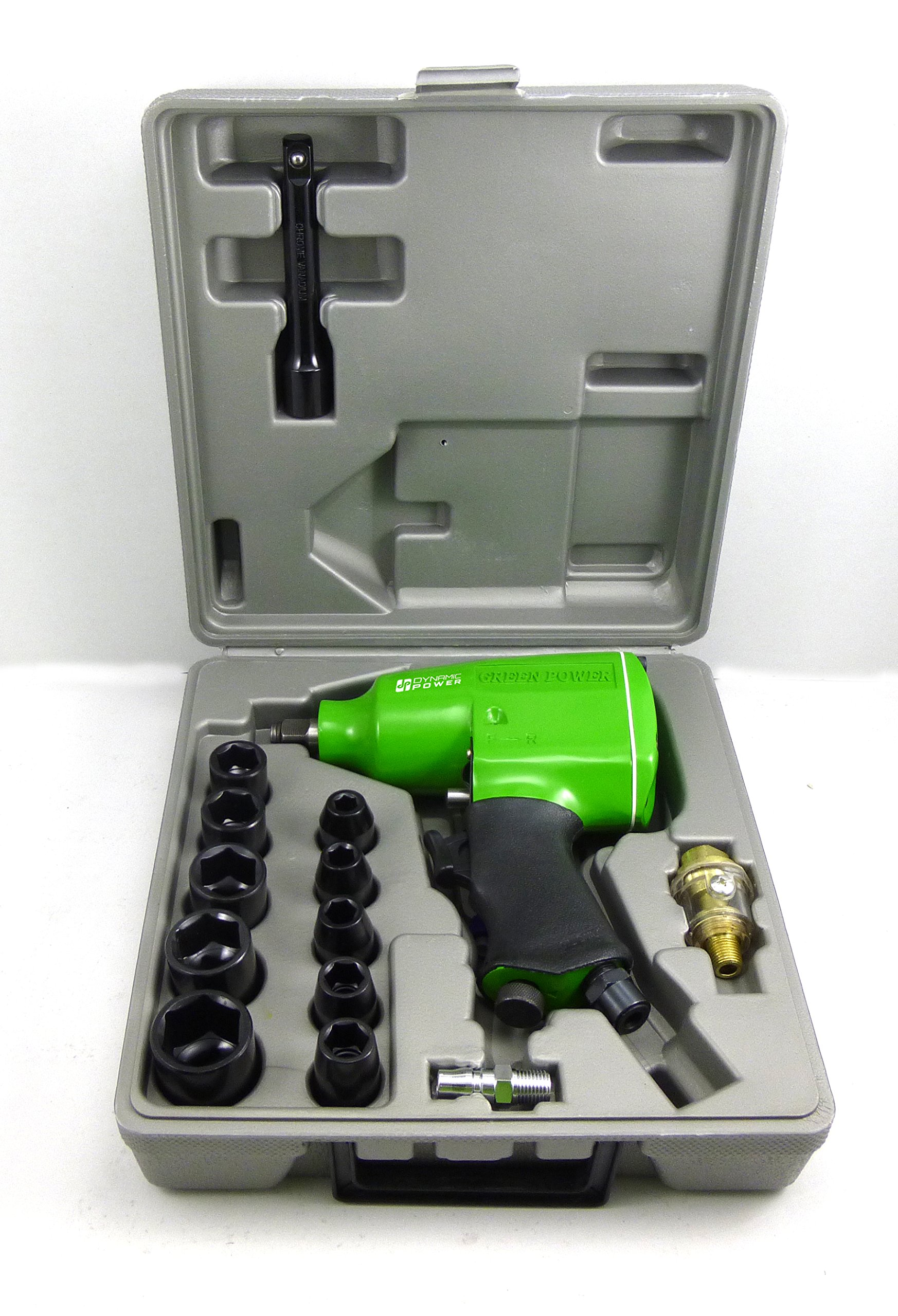 Dynamic Power 1/2'' Air Impact Wrench KIT (4 position power settings), 240ft-lb. of torque, provides power to remove most lug nuts (Rocking dog mechanism), D312126K