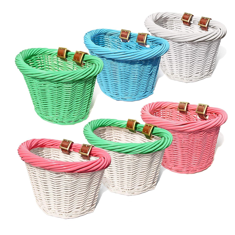 Colorbasket 01488 Junior Front Handlebar Wicker Bike Basket Leather Straps