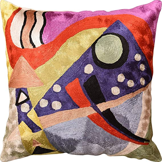 Picasso Abstract Composition Silk Throw pillow cover Hand Embroidered Silk,Home Decor,decorative pillow,decorative cushionsSize 18-18.
