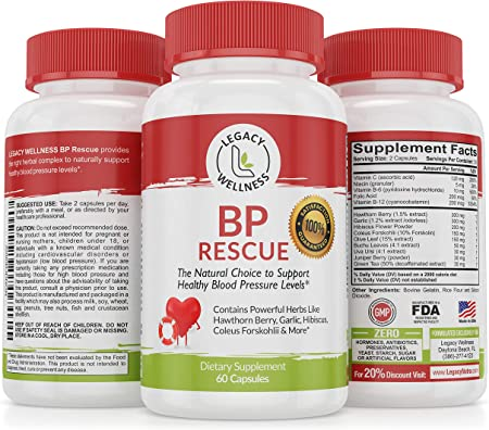 Blood Pressure Support Supplement for High Blood Pressure & Hypertension - Natural Lower Blood Pressure Pills with Hawthorn & Garlic - Safe Vitamins & Herbs for Cardiovascular Heart Health - 60 caps