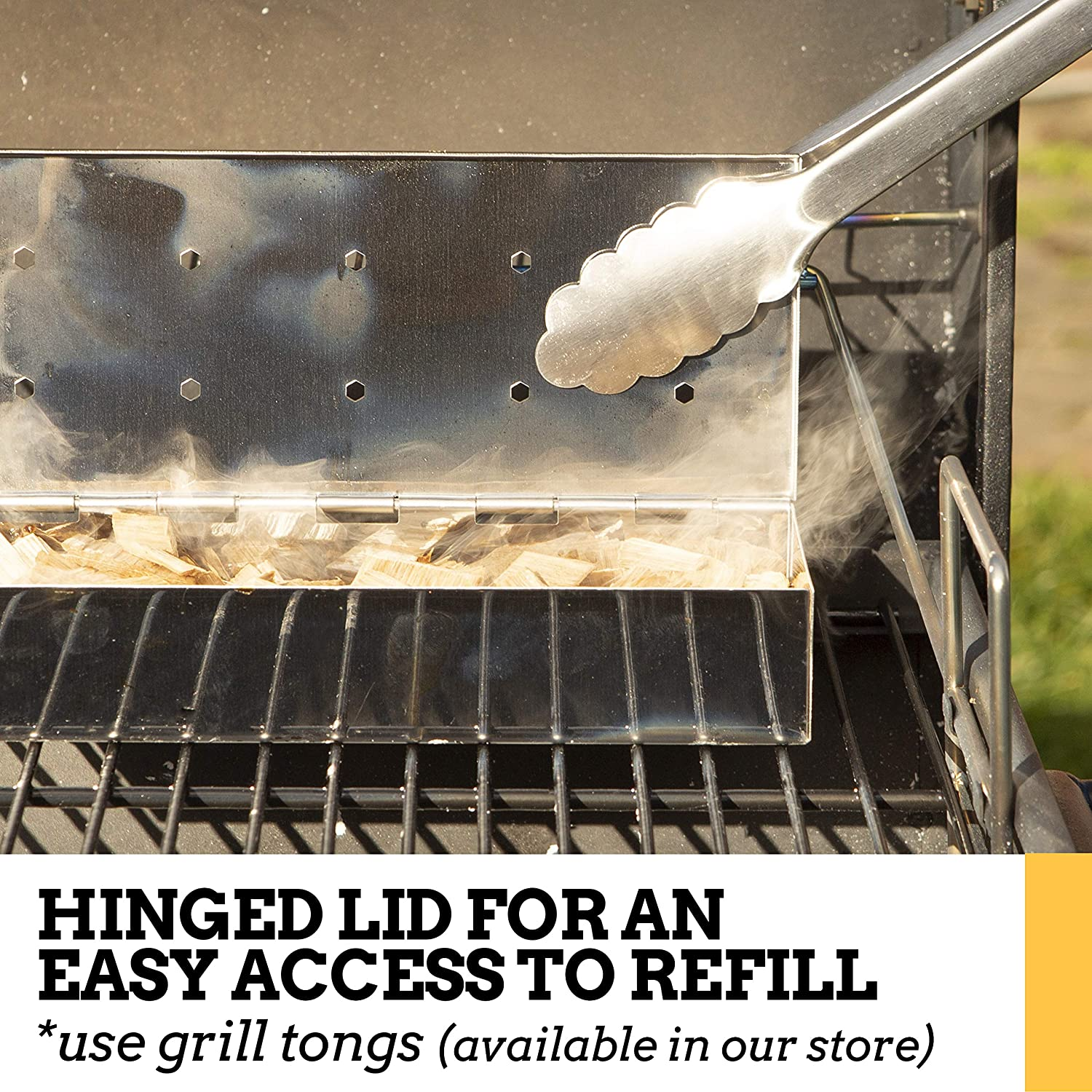 Use a Gas or Charcoal BBQ Grill and Still Get That Delicious Smoky Barbecue Flavored Grilled Meat Smoker Box for Wood Chips Brushed Finish Stainless Steel Brushed Finish Stainless Steel
