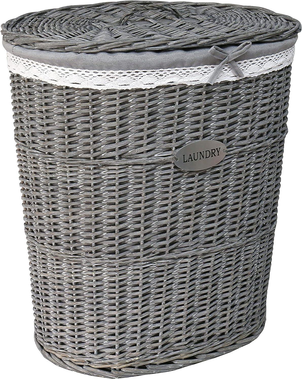 New Grey Oval Laundry Rattan Wicker Baskets Bin Bedroom Hallway Storage Shabby C