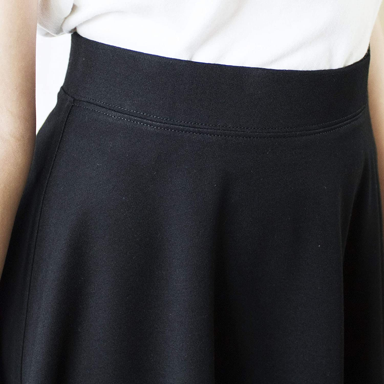 Size 4-14 LACHERE Black Skater Skirt Knee Length Stretch Elastic Waist School