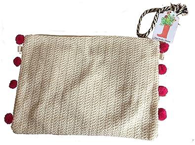 Bolso clutch, cartera de mano de rafia, mimbre, esparto. Bolso para el verano. Con pompones fucsia/rosa, azul o verde. Cartera para el verano. Bolso de moda ...