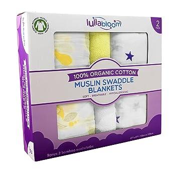 Amazon.com: 100% muselina de algodón orgánico bebé mantas ...