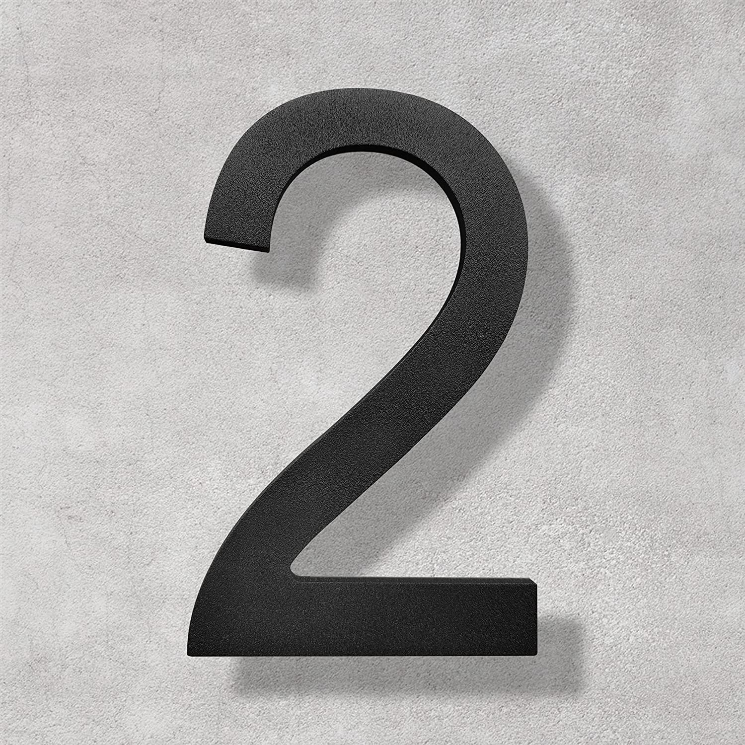 5 Inch High House Numbers- Rustproof Stainless Steel Floating Home Address Number, Elegant Matte Black Finished (Number 2)