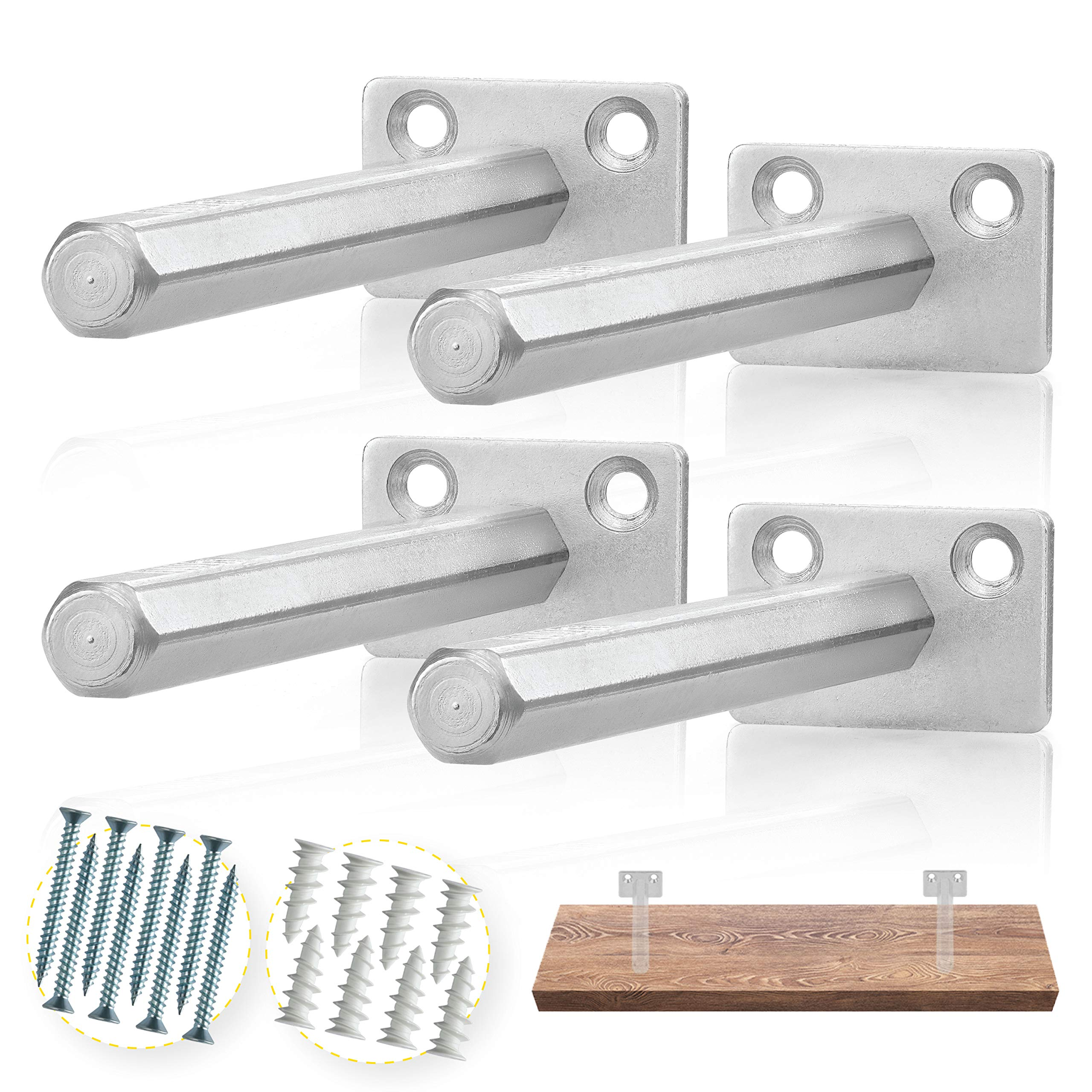 BATODA Floating Shelf Bracket (4 pcs Galvanized Steel) - Blind Shelf Supports - Hidden Brackets for Floating Wood Shelves - Concealed Blind shelf Support - Screws and Wall plugs Included  by BATODA