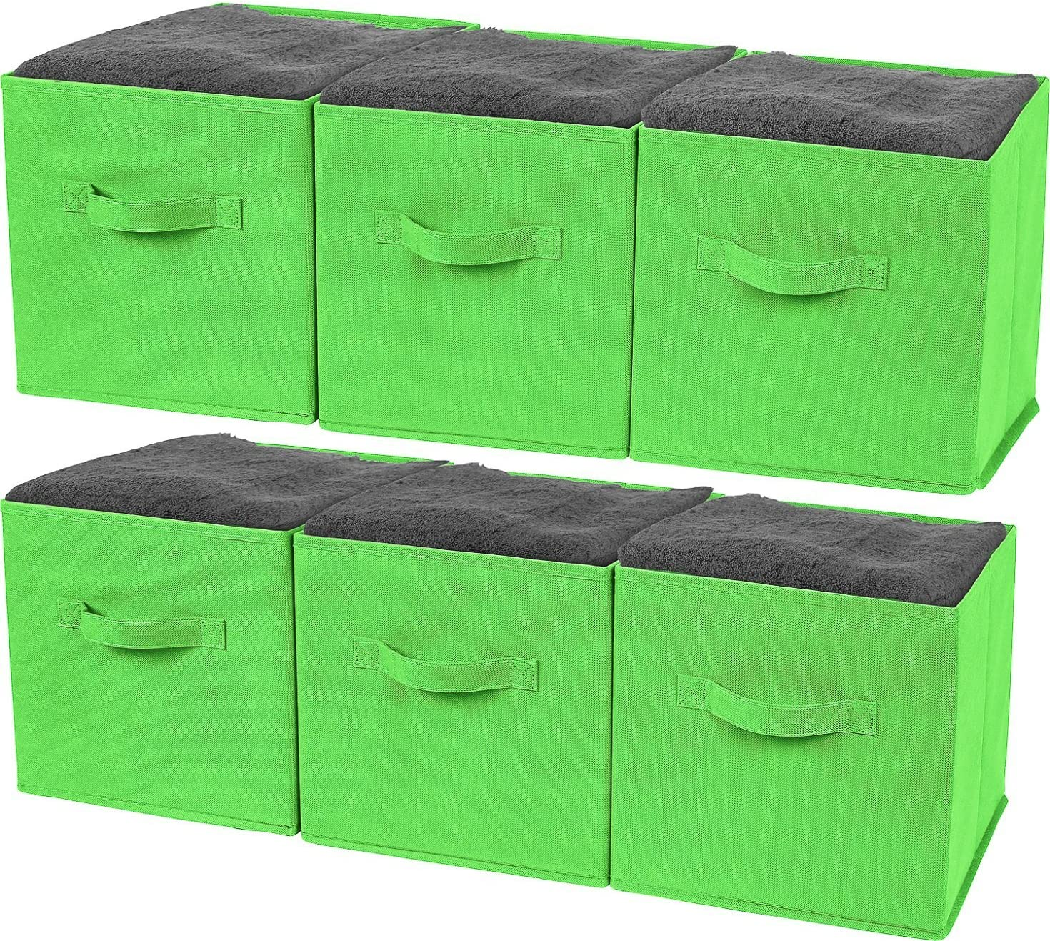 Greenco Foldable Storage Cubes Non-woven Fabric -6 Pack-(Green)