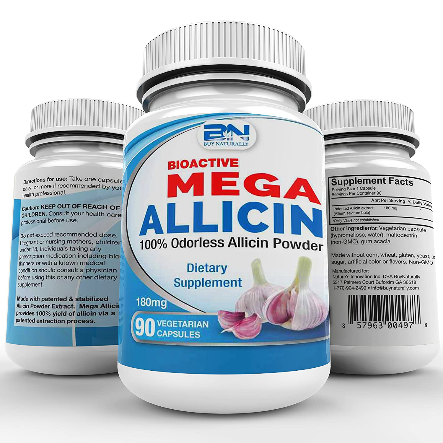 Mega Allicin 100 Allicin from Garlic 180mg, 90 count vCaps, Odorless, Non-GMO, and Gluten-Free 90 Count