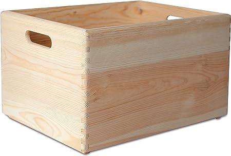 Creative Deco XXL Grande Caja de Madera para Decorar | 40 x 30 x 24 cm | Asas | Baúl Cofre para Decoupage Decorar Almacenar Fruta Documentos Objetos de Valor Juguetes Herramientas: Amazon.es: Hogar