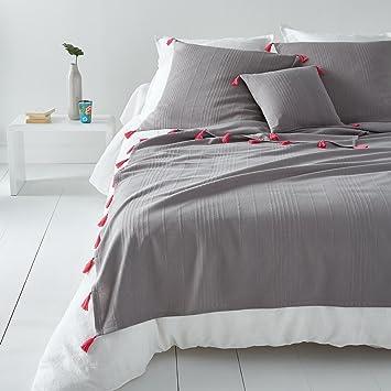 la redoute interieurs couvre lit riad 180 x 230 cm grisrose - Couvre Lit La Redoute