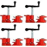 "Yaetek (4 Pack) 3/4"" Wood Gluing Pipe Clamp Set Heavy Duty PRO Woodworking Cast Iron"