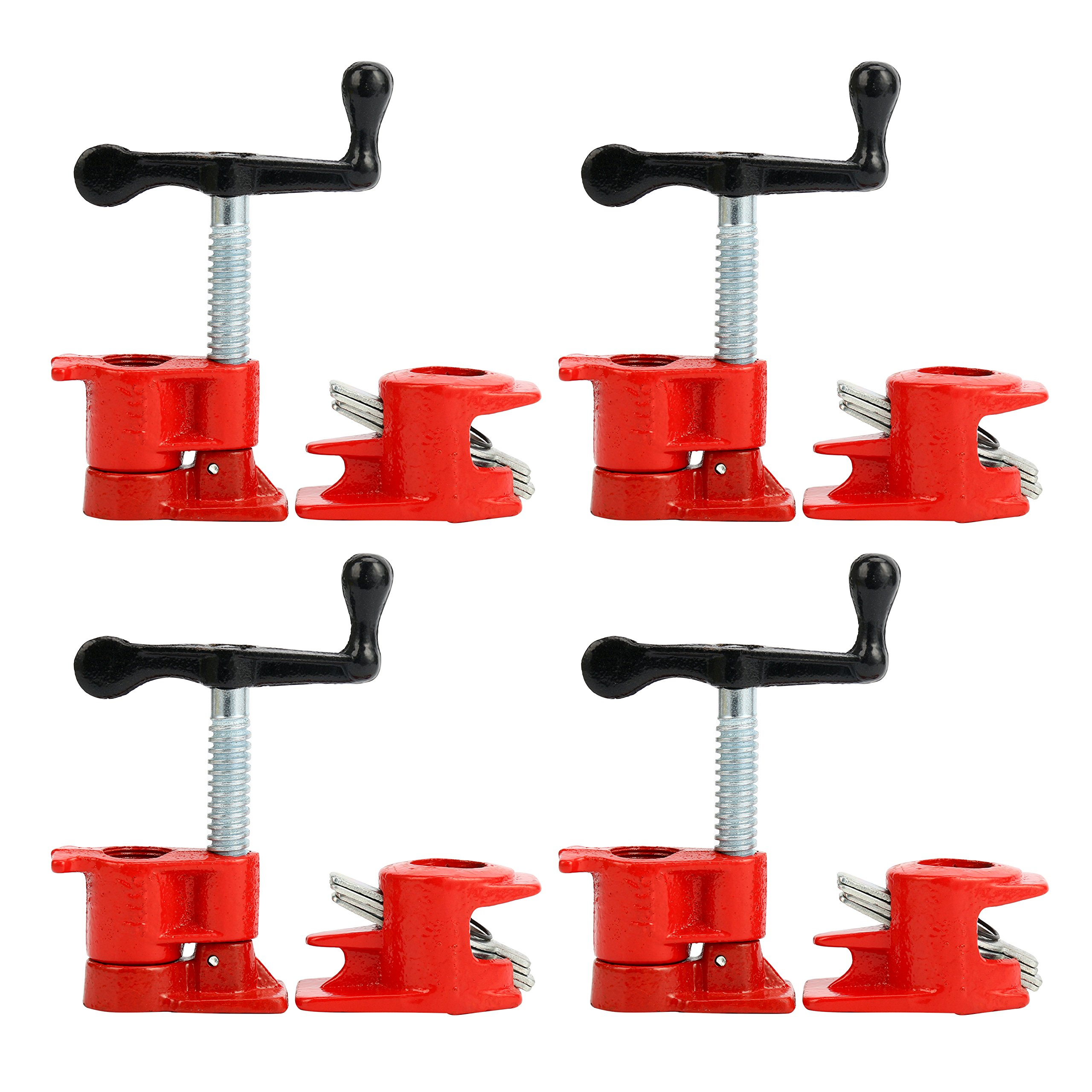 YaeTek ( 4 Pack ) 1/2'' Wood Gluing Pipe Clamp Set Heavy Duty PRO Woodworking Cast Iron by YaeKoo