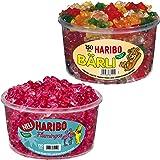 Haribo Bärli und Flamingos, 2er Set, Gummibärchen, Weingummi, Fruchtgummi, Große Bären, Pinke Süßigkeit