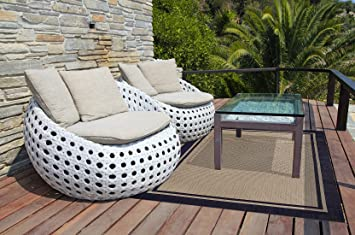 Brown Jordan Prime Label Outdoor Furniture Rug 5x7 Furman Collection Blue  Sisal Woven Modern Patio Rugs