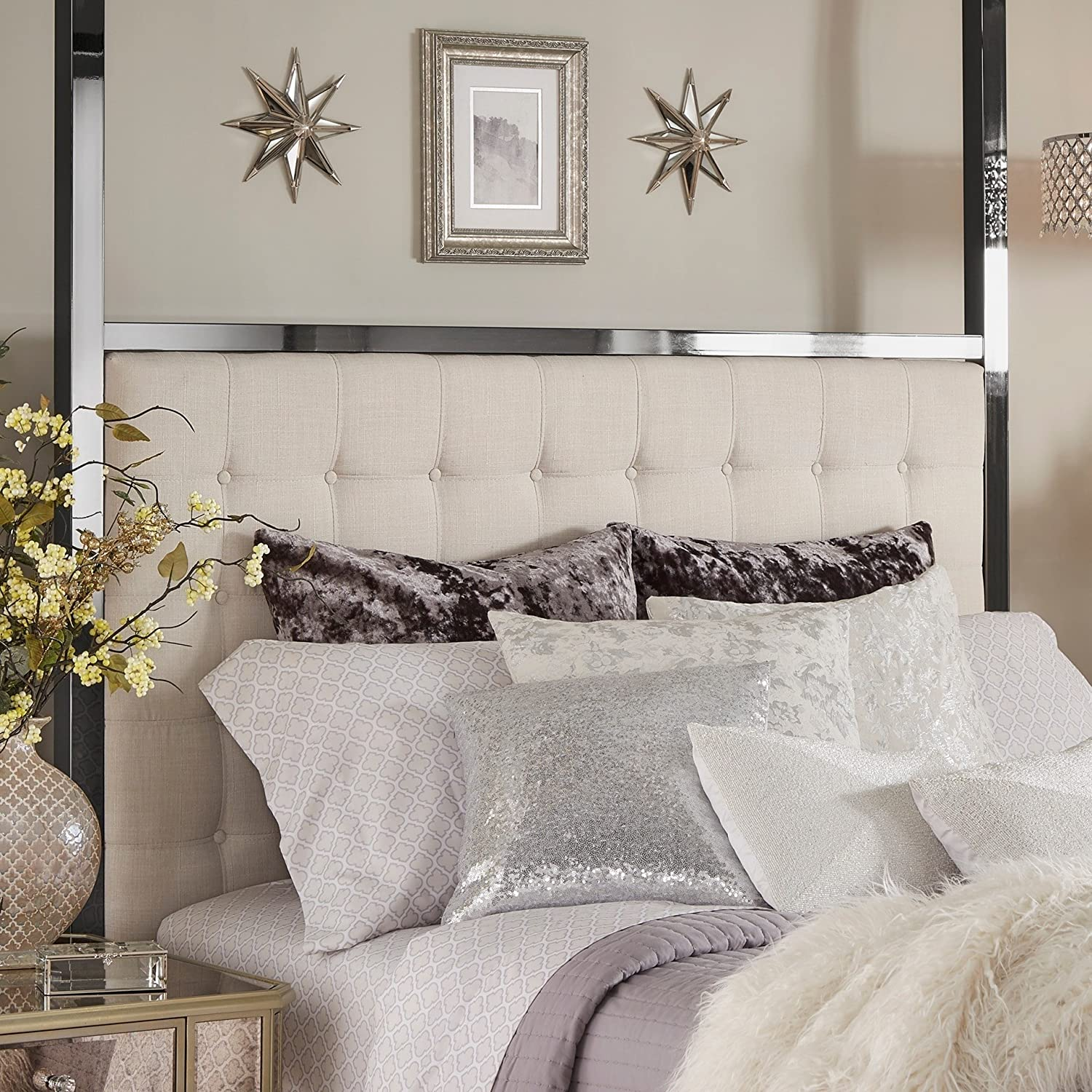 Amazon.com: iNSPIRE Q Solivita Black Nickel Metal Queen-size Canopy Poster  Bed by Bold Off White: Kitchen & Dining