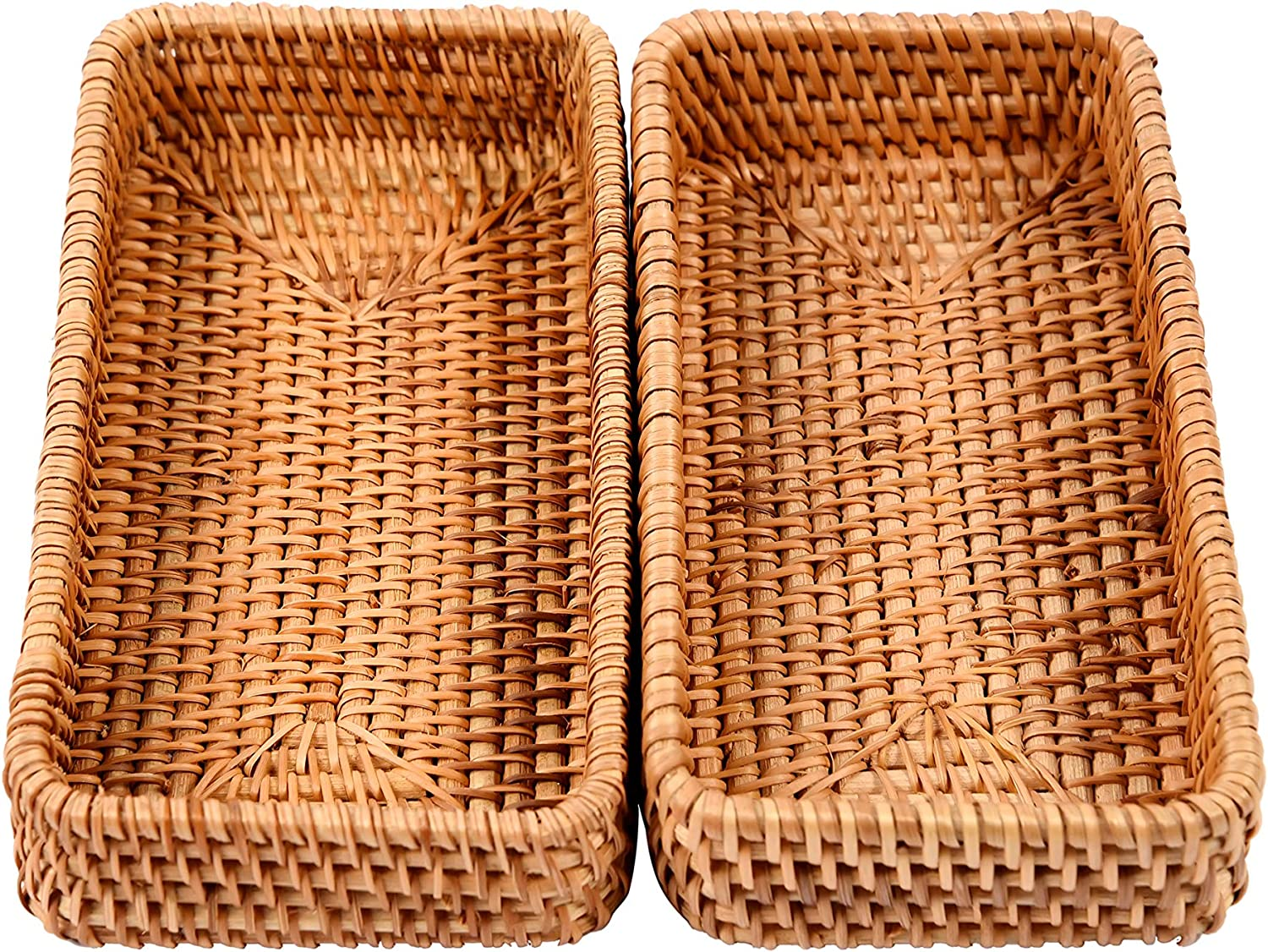 Chinoxinh Set of 2 Handmade Rectangle Rattan Serving Trays - Wicker Tabletop Fruit Platter - Woven Office Supplies & Kitchen Widget Organizer - Handcrafted Tissue, Bathroom Accessory Tray - Small size
