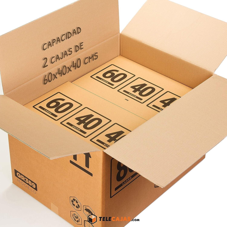 TeleCajas® | Cajas de Cartón Gigantes | Doble Pared REFORZADA | 80x60x55 cms | Pack de 4 uds (4x): Amazon.es: Oficina y papelería