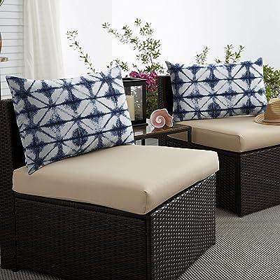 Mozaic Company AMPS116901 Indoor Outdoor Sunbrella Lumbar Pillows, Set of 2, 14 x 24, Navy Blue & White : Garden & Outdoor