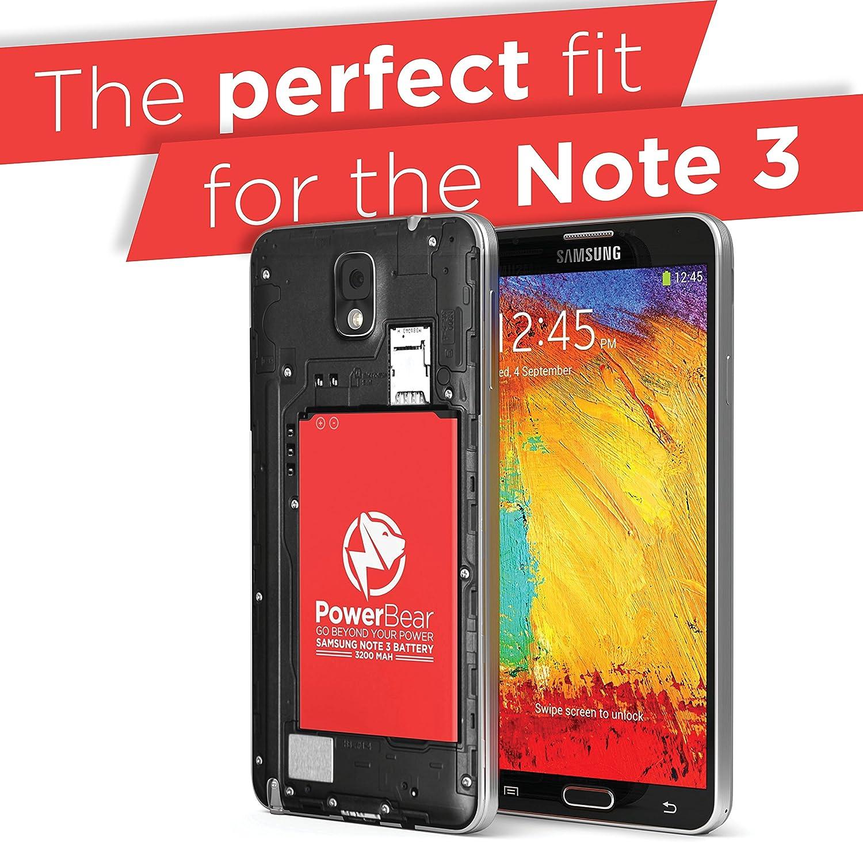 PowerBear Note 3 Battery (3200 mAh) Li-Ion Battery for The Samsung Galaxy Note 3 [N9000, N9005 LTE, AT&T N900A, Verizon N900V, Sprint N900P, T-Mobile ...