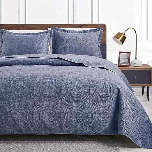 Love's cabin King Size Quilt Set Blue Bedspreads - Soft Bed Summer Quilt Lightweight Microfiber Bedspread- Modern Style Coin Pattern Coverlet for All Season - 3 Piece (1 Quilt, 2 Pillow Shams)