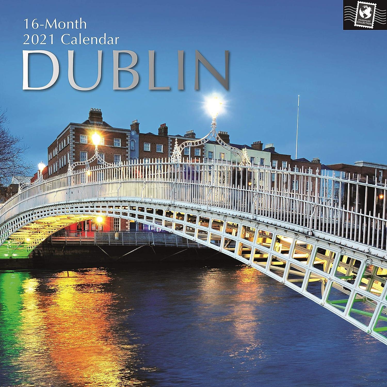 30 x 30 cent/ímetros Mensual Vista de viaje y destino tem/ático incluye 180 etiquetas en Ingl/és Calendario de Dubl/ín Calendario de pared 2021 de 16 meses