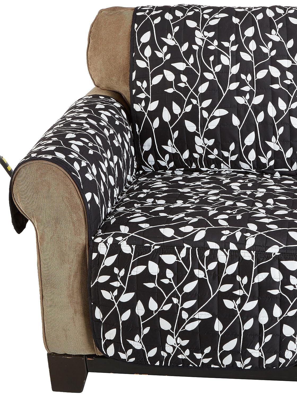 Elegance Linen Quilted Pet Dog Children Kids - Furniture Protector- Microfiber Slip Cover Black Chair Leaf Design FBA_Black Chair Leaf