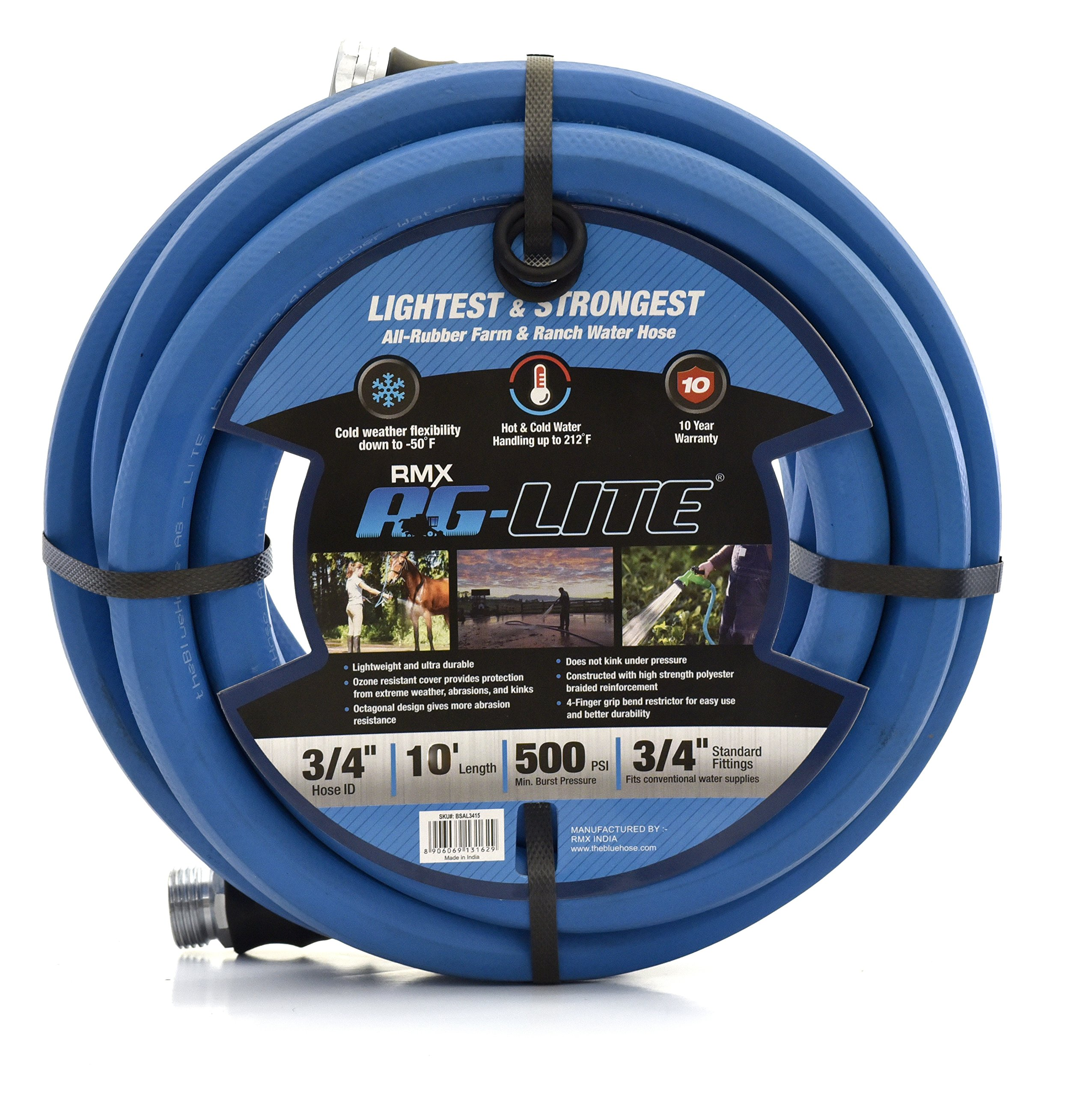 AG-Lite Rubber Hot & Cold Water Rubber Garden Hose: Ultra-Light & Super Strong - 10 Year Warranty (3/4 x 10') by AG-Lite