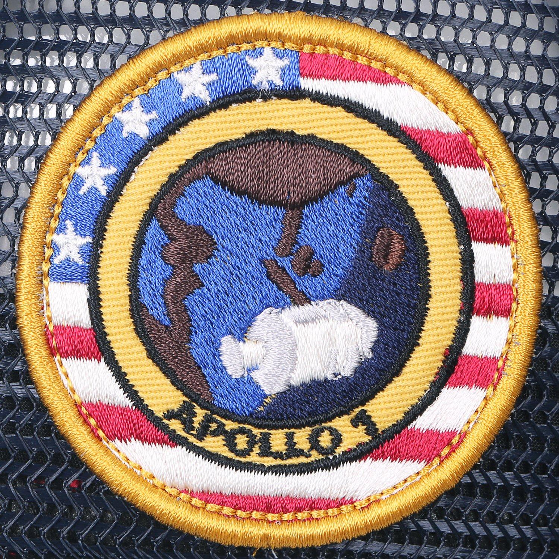07e536d8e4b ililily NASA Meatball Logo Embroidery Baseball Cap Apollo 1 Patch Flat Bill  Hat Black
