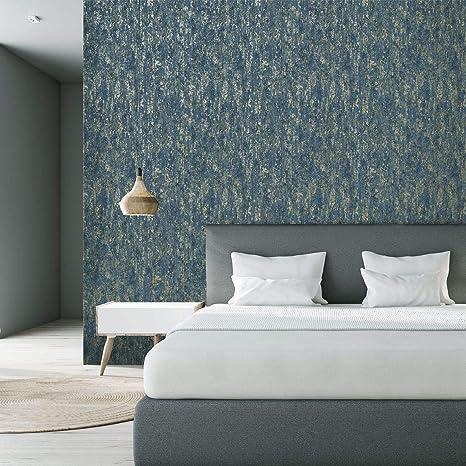 Arthouse Pierre Texture béton bleu marine argent métallisé vieilli Vinyle Papier Peint