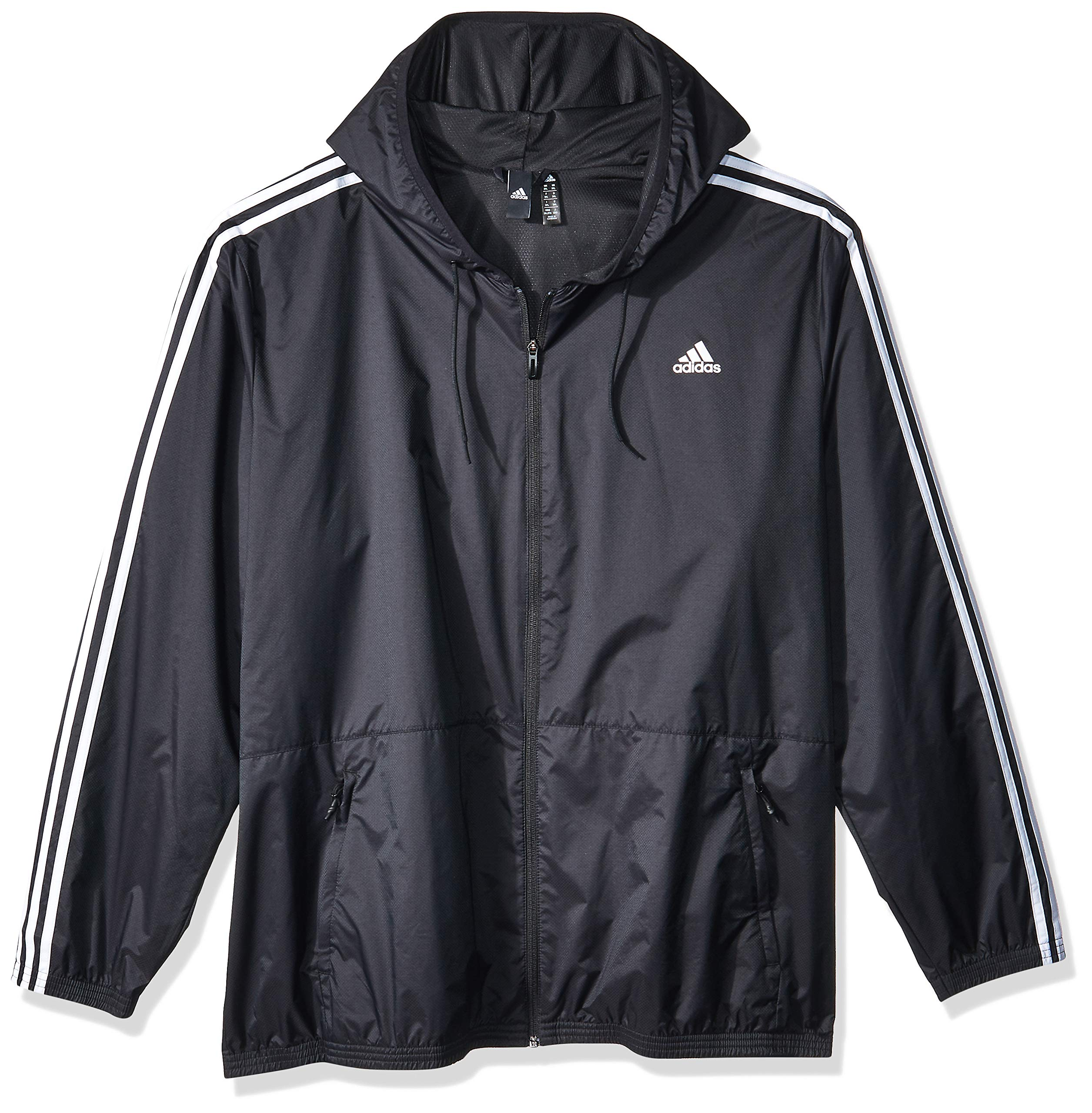 adidas Men's Essentials Wind Jacket, Black/Black/White, 3X-Large by adidas