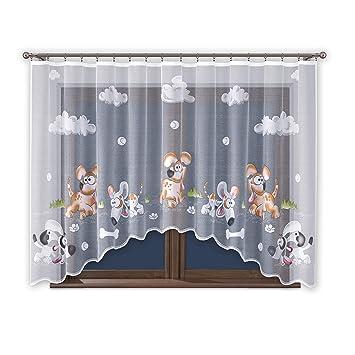 Gardine mit Kräuselband Kinderzimmer Kindergardine Junge Weiß 300 cm Extra  Breit Motiv Scheibengardine Kurzgardine Transparent Kurz Durchsichtig ...