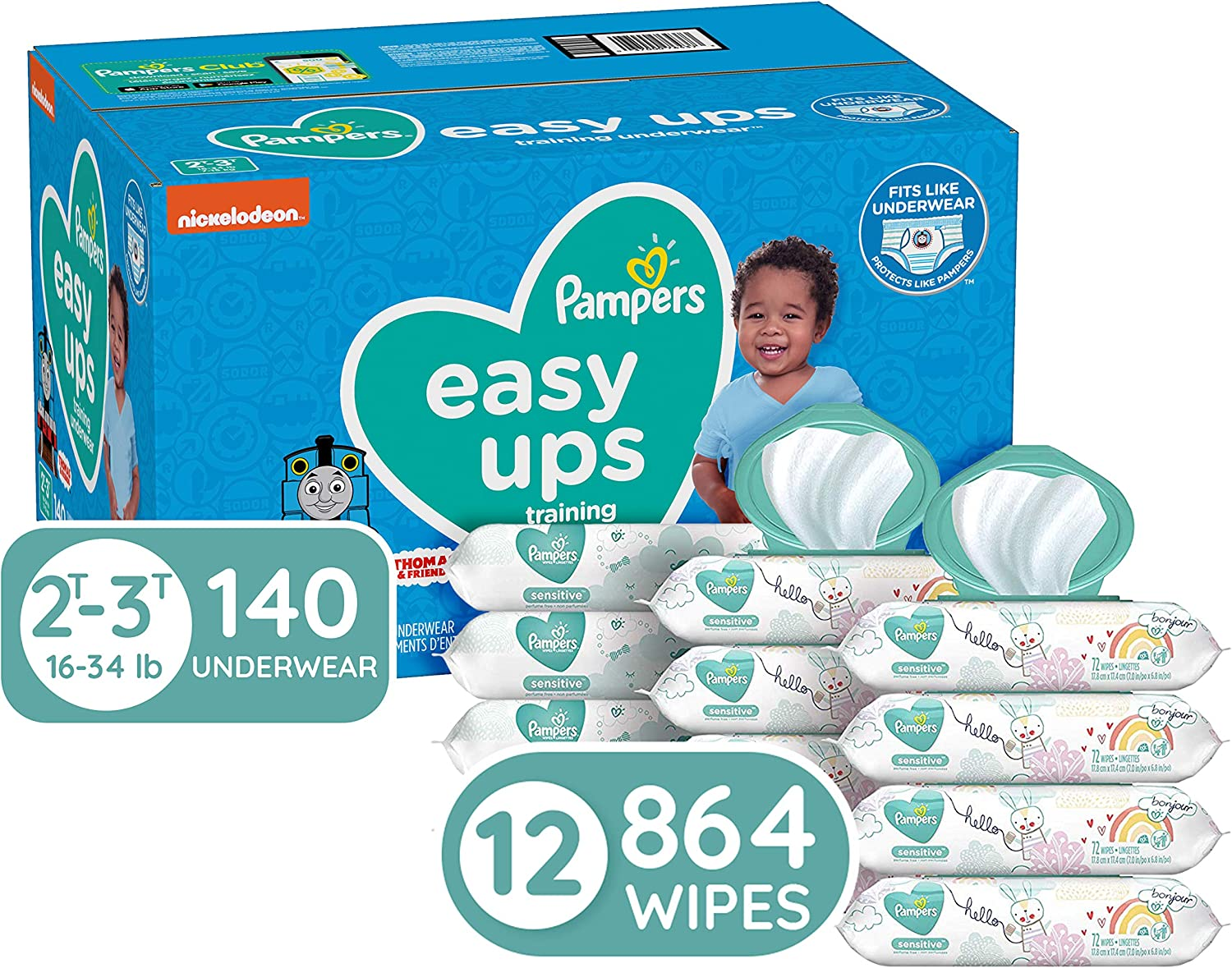 Pampers Easy Ups and Baby Wipes - Pull On Disposable Potty Training Underwear for Boys and Girls, Size 4 (2T-3T), 140 Count with Sensitive Wipes, 12X Pop-Top Packs, 864 Count (Packaging May Vary)
