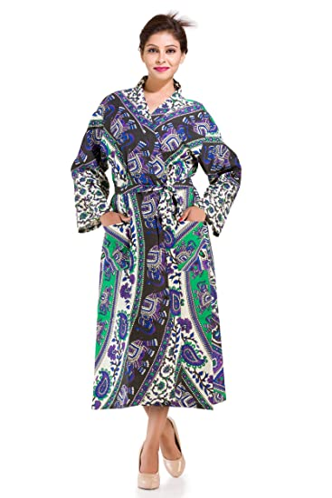 b4fcb561bc Purple Elephant Mandala Printed Long Bath Robe Nightwear robe Nighty with  Robe Cotton Nightwear Lingerie Nightdress