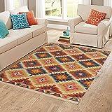 Carpet Craft Modern Collection Beige & Multi Handmade Wool Carpet with Loop Pile (150x240cm) Woolen Carpet and Hall 5 x 8 Feet Carpet