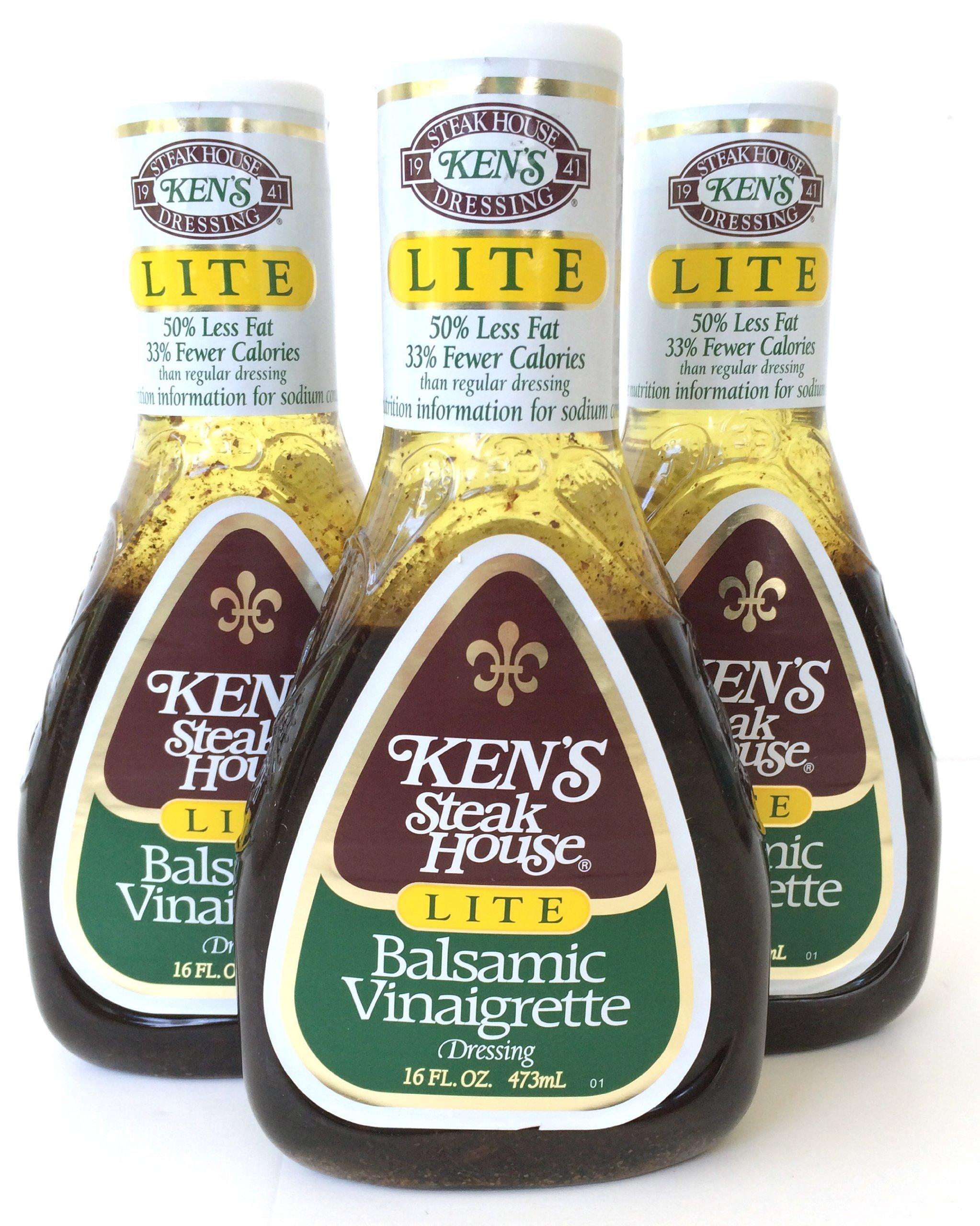 Kens Steak House Lite Balsamic Vinaigrette Dressing, 16 Ounce (Pack of 3) by Ken's Steak House