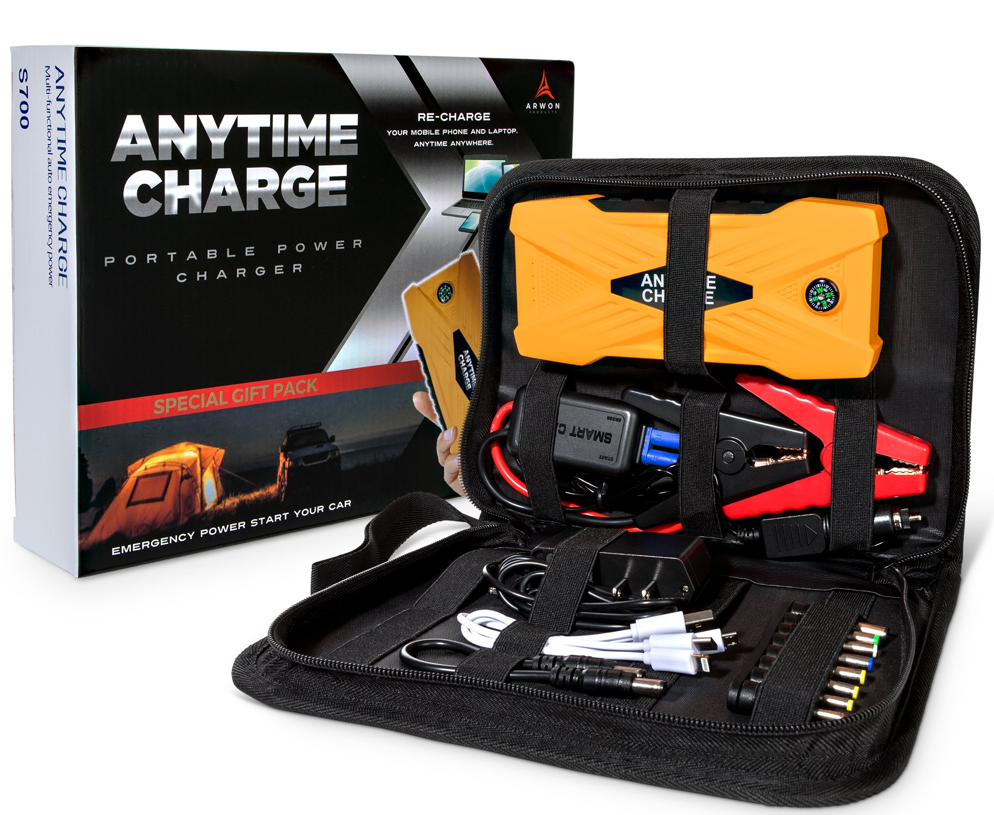 Car Battery Charger Power Pack by AnyTime - Portable, Lightweight Jump Starter with Jumper Cables, LED Light, and USB Phone Port and Cable - Compact, Emergency 12V Powerful Battery Charging Kit, Small